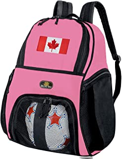 Broad Bay Girls Canada Flag Soccer Ball Backpack or Womens Volleyball Bag Ball Carrier