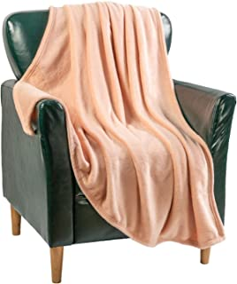 Flannel Blanket Fleece Throw Size Blush Rose Pink All Season Lightweight Plush Cozy Super Soft Luxury Couch Sofa Bed Blank...