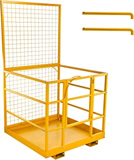 BestEquip 3 LayersForklift Safety Cage Aerial Rails 45x43 Inch Forklift Safety Cage Work Platform Heavy Duty Steel Construction Fold Down Lift Basket 1250 LBS Capacity