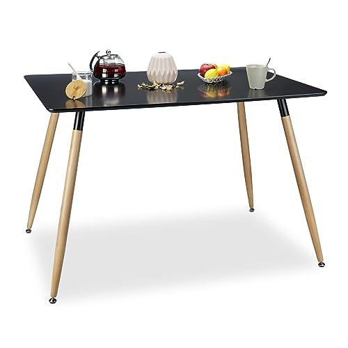 Relaxdays Table à manger ARVID rectangle table de salon table appoint en bois HxlxP: 75 x 120 x 80 cm design scandinave nordique, noir