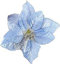 3 Pcs Christmas Decorations Light Blue Plastic Flowers Christmas Tree Decorations Accessories