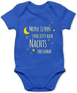 Shirtracer Sprüche Baby - Meine Eltern sind jetzt auch Nachts erreichbar - Baby Body Kurzarm für Jungen und Mädchen