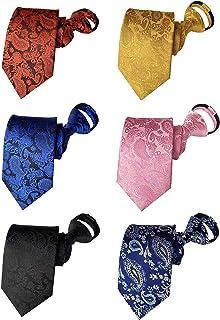 BESMODZ Mens 6 PCS Classic Zipper Ties Pretied Silk Necktie Striped Neck Tie Set