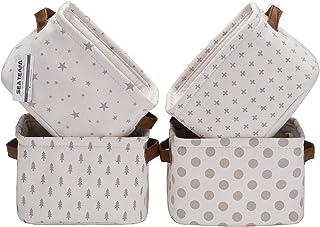 Sea Team Mini-équipe Pliable Nouveau thème Gris et Blanc - Corbeilles de Rangement en Tissu de Coton et Lin 100% Naturel