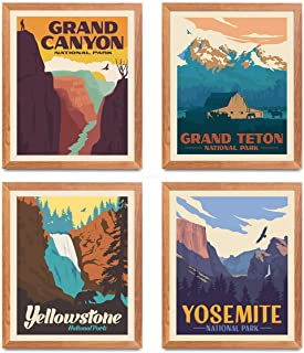 National Park Posters & Prints - Set of 4 by Herzii Prints | Vintage National Parks Poster | Nature Wall Art Decor | Mount...
