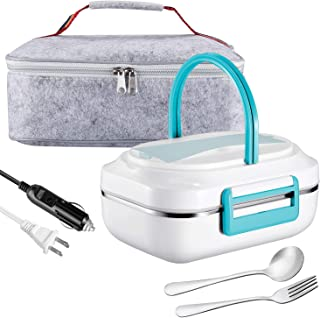 Electric Lunch Box Heating Lunchbox - Farochy Car Food Warmer and Heater Lunch Box Electric Lunch Box 2 in 1 for Car and Home 110V & 12V(Blue)