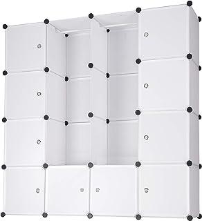 WOLTU SR0101ws DIY Armoire Plastique Chambre Faite de modules avec 2 Tringle à vêtements pour Le Stockage de vêtements, Ac...