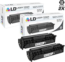 LD Compatible Toner Cartridge Replacement for HP 305A CE410A (Black, 2-Pack)