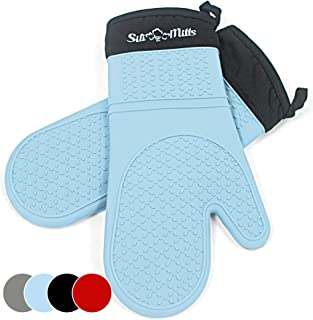 Blue Silicone Oven Mitts - 1 Pair of Extra Long Professional Heat Resistant Pot Holder & Baking Gloves - Food Safe, BPA Free FDA Approved With Soft Inner Lining