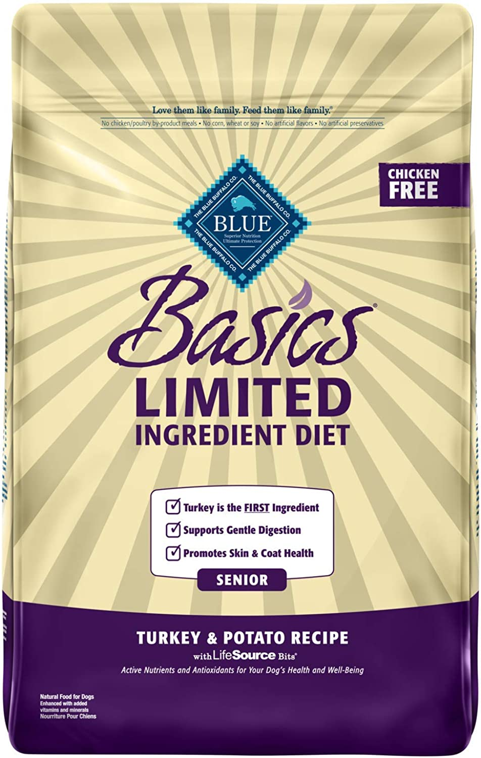 bluee Buffalo Basics Limited Ingredient Diet, Natural Senior Dry Dog Food, Turkey & Potato 24Lb