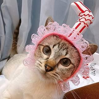 Fighrh Pet Cat Dog Straw Headgear Pet Cat Headgear Cute Spoof Pet Birthday Hat Headband Hat Christmas Ornaments Pets Halloween Headdress Pink