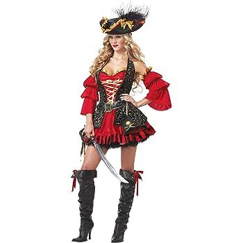 Disfraz Pirata rojo para mujer -Premium XL: Amazon.es: Juguetes y ...