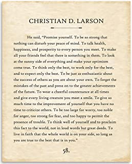 Christian D Larson - Promise Yourself - 11x14 Unframed Typography Book Page Print - Great Inspirational and Motivational Gift and Decor for Home and Office Under $15