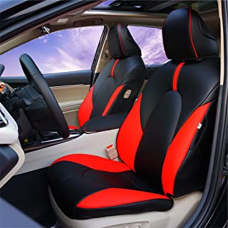 BeHave Autos Car Leather Seat Covers Fit Toyota Camry 2018 Auto Full Set Seat Cushion Protector 4pcs Saddle Cover,4pcs Back Cover,5pcs Headrest Cover(Red Black)