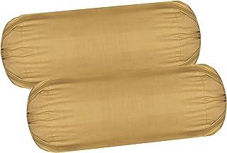 HSR Collection Cotton Plain Bolster Cover Set of 2 - Beige