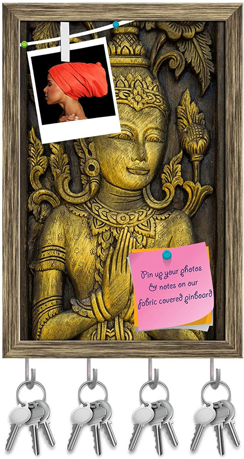 Artzfolio Lord Buddha Image Key Holder Hooks   Notice Pin Board   Antique golden Frame 12 X 18.1Inch