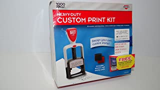 """2000 PLUS® Custom Stamp Print Kit, 7-Lines, 1-3/4"""" x 1-1/4"""" Impression Area, Two-Color, Black and Red (026286)"""
