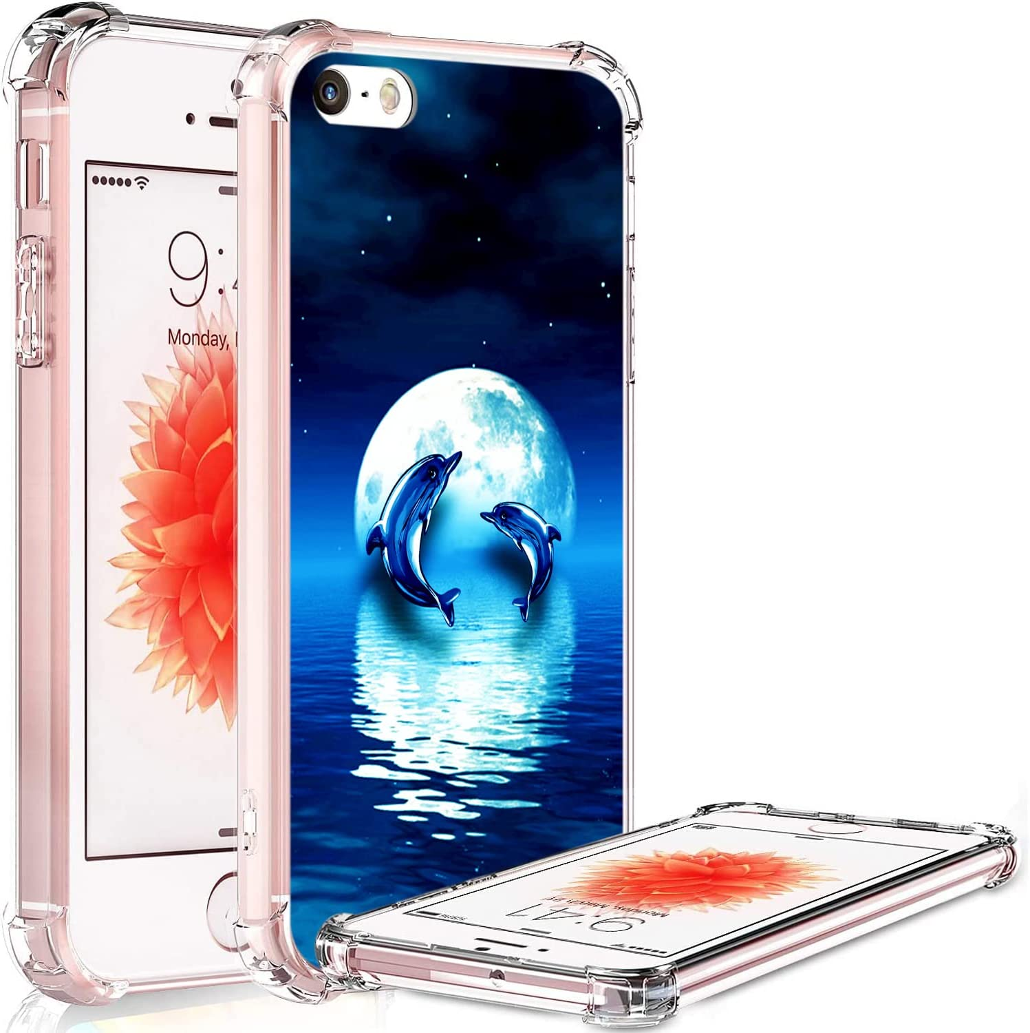 Ecute Clear Flexible Side Style Hard Back Case Compatible with iPhone 5/5S/SE - Moon Dolphin