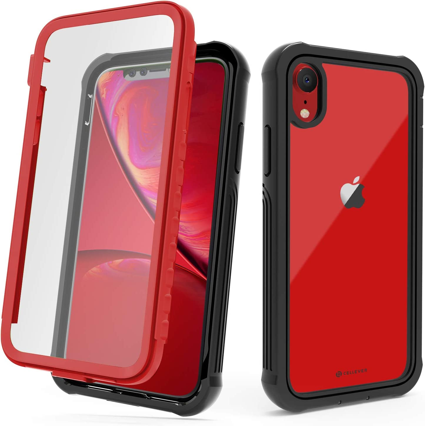 CellEver Compatible with iPhone XR Case, Heavy Duty Clear Full-Body Protective Transparent Cover with Soft Shock Absorbing TPU Bumper and Built-in Screen Protector - Red