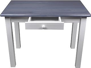 esstisch mit schublade kuchentisch tisch restaurant massiv holz kiefer 50x70 grau blau