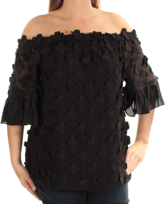 Alfani Womens Black Short Sleeve Off Shoulder Top US Size  12