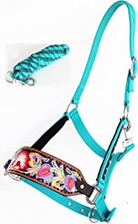 ProRider Horse Noseband Tack Bronc Leather HALTER Tiedown Lead Rope Flower Painted 280635
