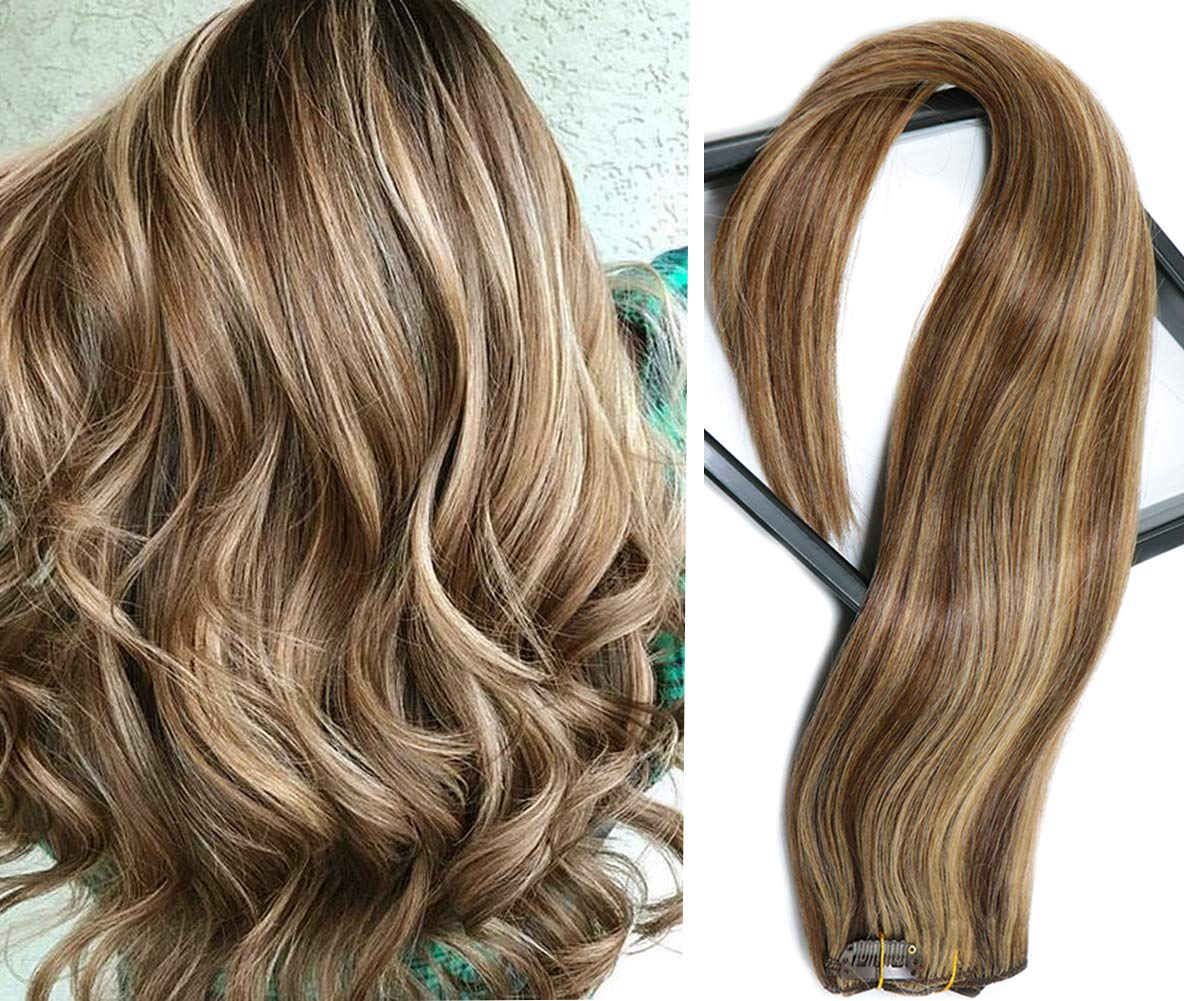 Clip in Hair Extensions Remy to Max 47% OFF Human Chocolate Caram Outlet ☆ Free Shipping Brown