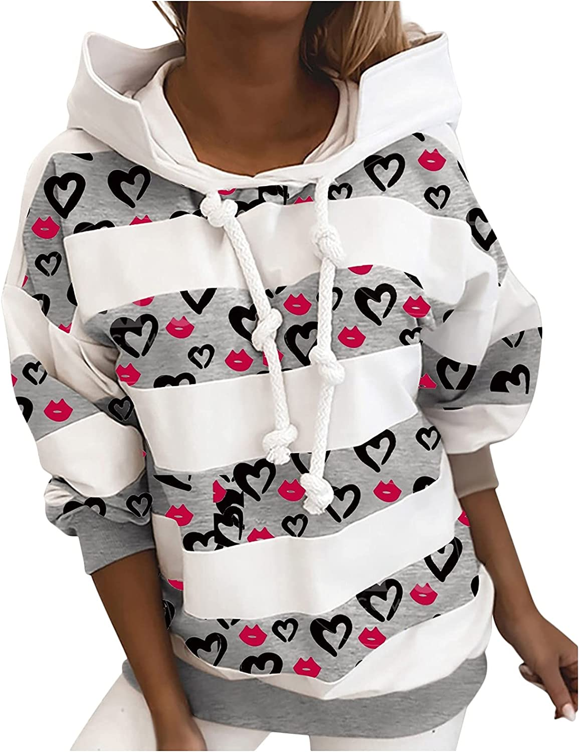 Sweatshirt for Women Womens Tops discount High material Fashion Heart-S Pullover Hooded