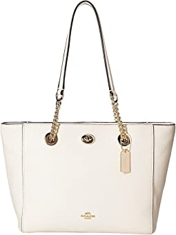 COACH - Pebbled Turnlock Chain Tote 27