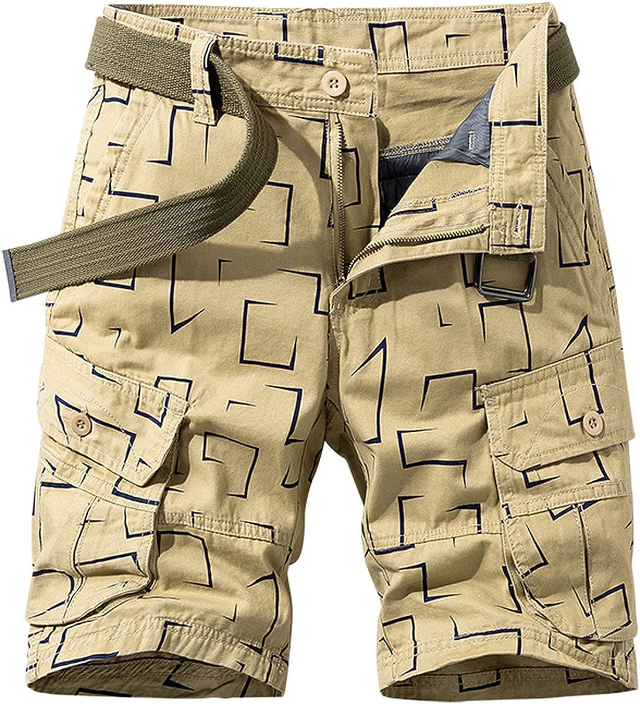 B dressy New Summer Cargo Shorts Men Camouflage Cotton Khaki Loose Casual Outwear Overalls-Khaki-1-28