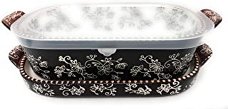 Temp-tations 1 Qt Squoval Baker w/Lid-It (Tray) & Plastic Cover, Small Casserole Dish (Floral Lace Black)
