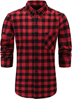 Sponsored Ad - Emiqude Men's 100% Cotton Slim Fit Long Sleeve Button Down Flannel Plaid Dress Shirt