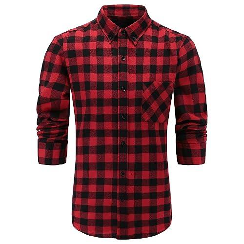 808f6504 Emiqude Men's 100% Flannel Cotton Slim Fit Long Sleeve Plaid Button Down  Dress Shirt