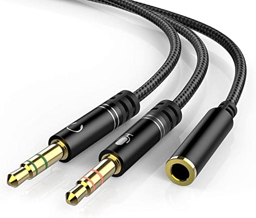 Headphone 3.5mm Splitter Mic Cable for Computer, KOOPAO Headset 3.5mm Female to 2 Dual Male Microphone Audio Stereo J...