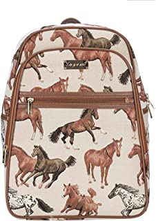 Signare Tapestry Stylish Rucksack Backpack Book Bag with Front Pocket with Running Horses (BKPK-RHOR)