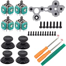 XtremeAmazing 4Pcs 3D Analog Joystick Thumb Sticks Sensor Module and 4Pcs Thumbsticks Cap with D Pads Rubber Conductive R L Button and T6 T8 Torx Screwdriver Repair Kit for Xbox one Controller