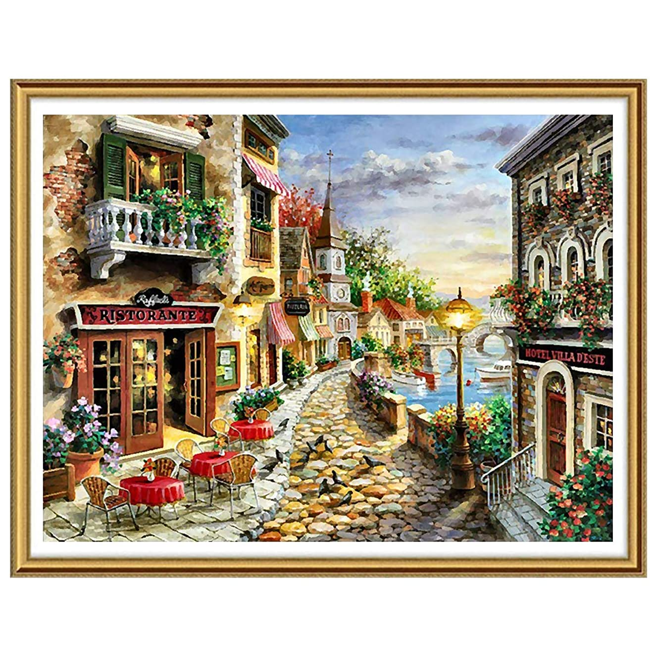 Ginfonr 5D Diamond Painting Full Drill Mediterranean Scenery by Number Kits for Adults, European Style DIY Paint with Diamonds Art Craft Rhinestone Cross Stitch Decor (12x16 inch)