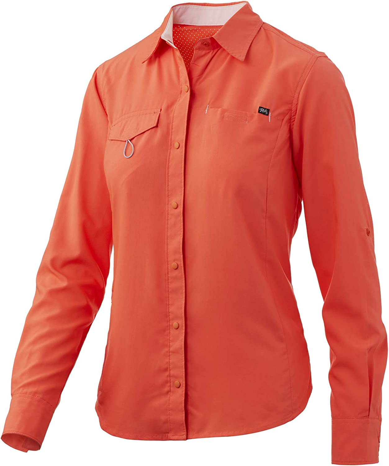 HUK Women's Salty Long Sleeve Fishing Ladies Button Down Performance Shirt with +30 UPF Sun Protection