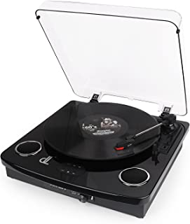 D&L Three Speed Vinyl Conversion Bluetooth Turntable with Stereo Speakers, Aux in, Vinyl to MP3 Converting/Encoding,Rechargeable Record Player