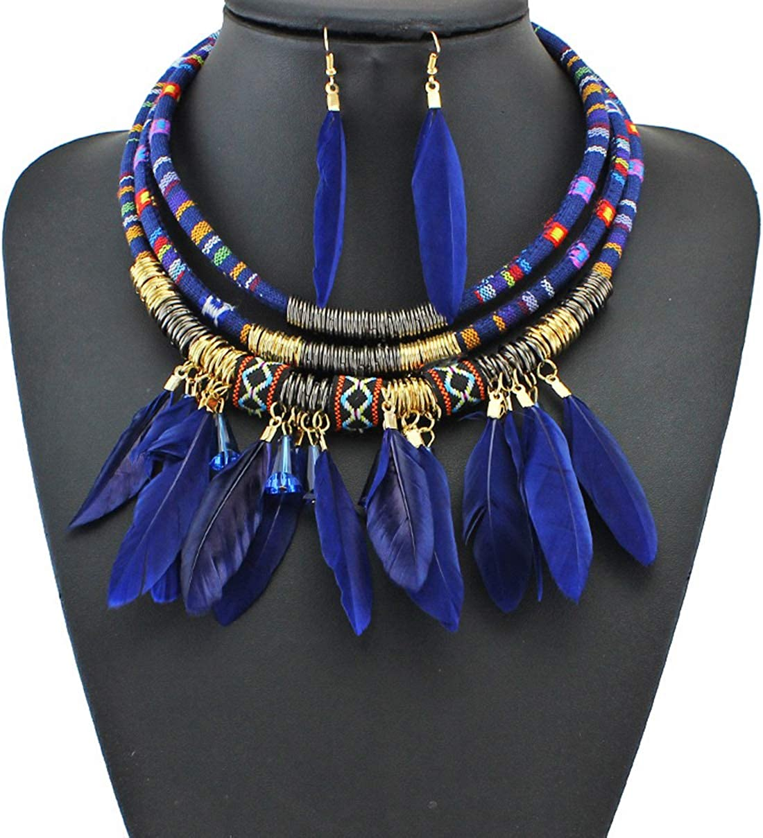 Alina Belle Vintage Feather Pendant Tribal Necklace African Earring Jewelry Set