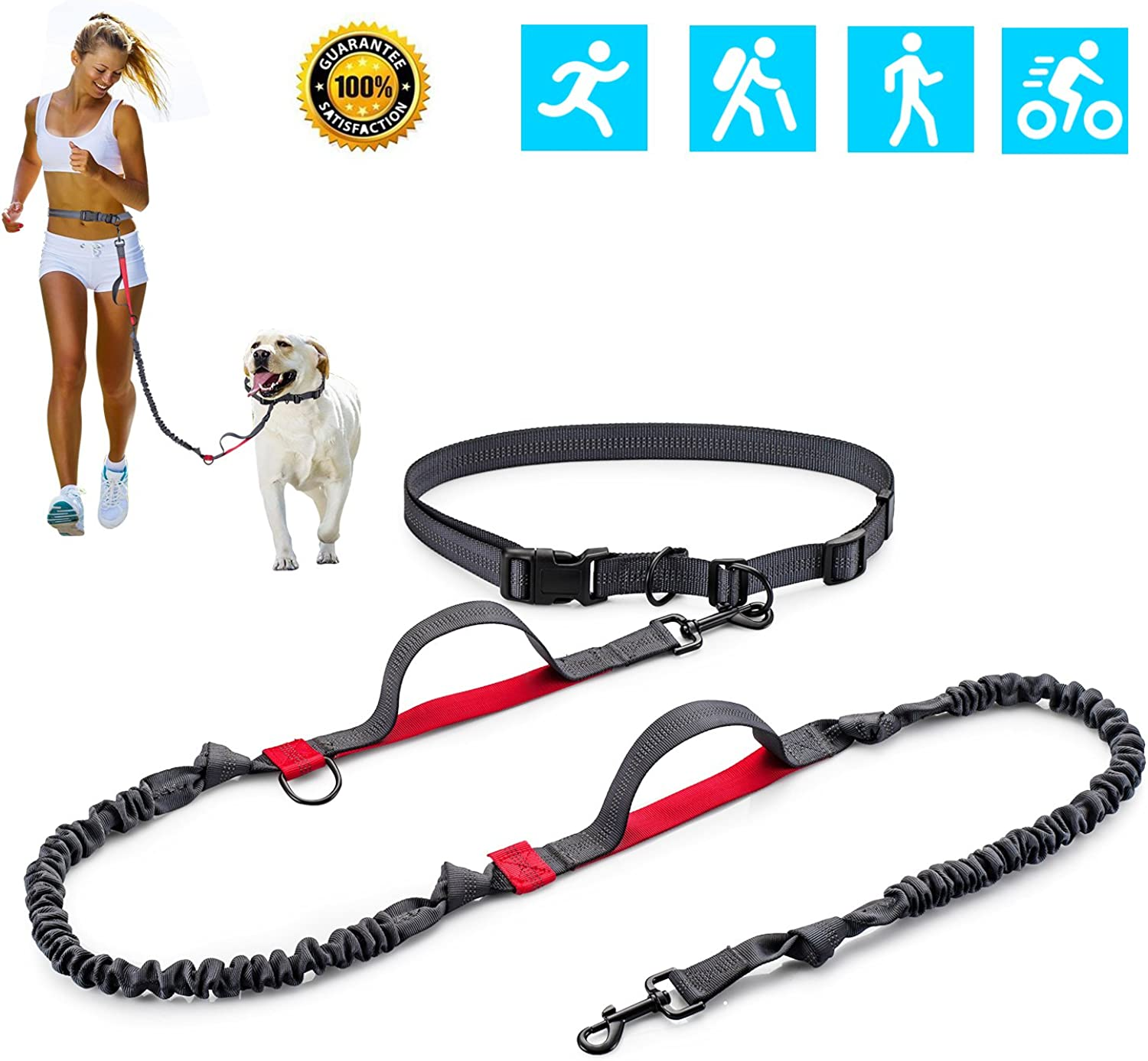 DODODO Hands Free Dog Leash, Retractable Leash with Dual Bungees for up to 160 lbs Large Dogs (Red)