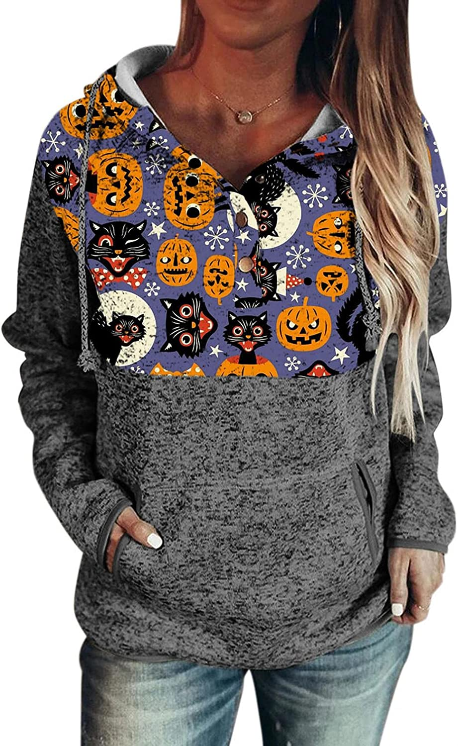 felwors Hoodies for Women, Womens Pullover Hoodies with Pockets Button Down Drawstring Casual Long Sleeve Sweatshirts