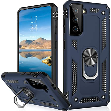 IKAZZ Galaxy S21 Case,Samsung S21 Cover Military Grade Shockproof Heavy Duty Protective Phone Case Pass 16ft Drop Test with Magnetic Kickstand Car Mount Holder for Samsung Galaxy S21 Blue