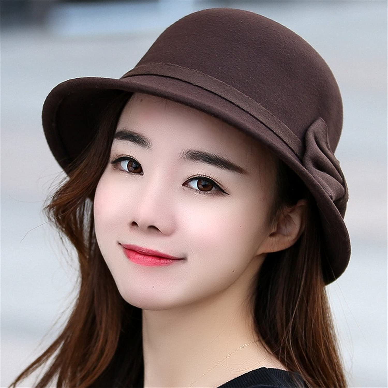 A Woman's hat Fedora Hat Autumn Winter Female Fashion Elegant Retro Hat Visor Cap Dome Lady Basin Adjustable for Head Circumference 56cm58cm,Hat Tie  Coffee color
