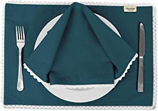 Vargottam Teal Blue Solid Home Décor Washable Lace Placemats & Napkins Table Decor Dining Mats-Pack of 6