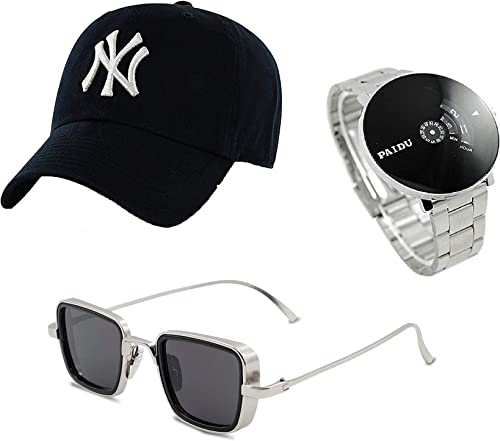 SELLORIA Combo Pack Of Black Analogue Stainless Steel Watch With Black Sunglass