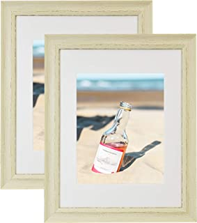 Golden State Art, Set of 2-11x14 Cream Colored Picture Frame - Ivory Mat for 8x10 Photos - Back Hangers, Real Glass - Wall Display - Great for Weddings, Portraits, Graduations, Events, Celebrations