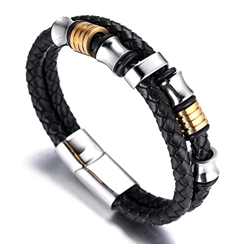 """Halukakah ● Honour ● Men's Genuine Leather Bracelet with Titanium Beads Golden & Silver 8.46""""(21.5cm) with FREE Giftbox"""