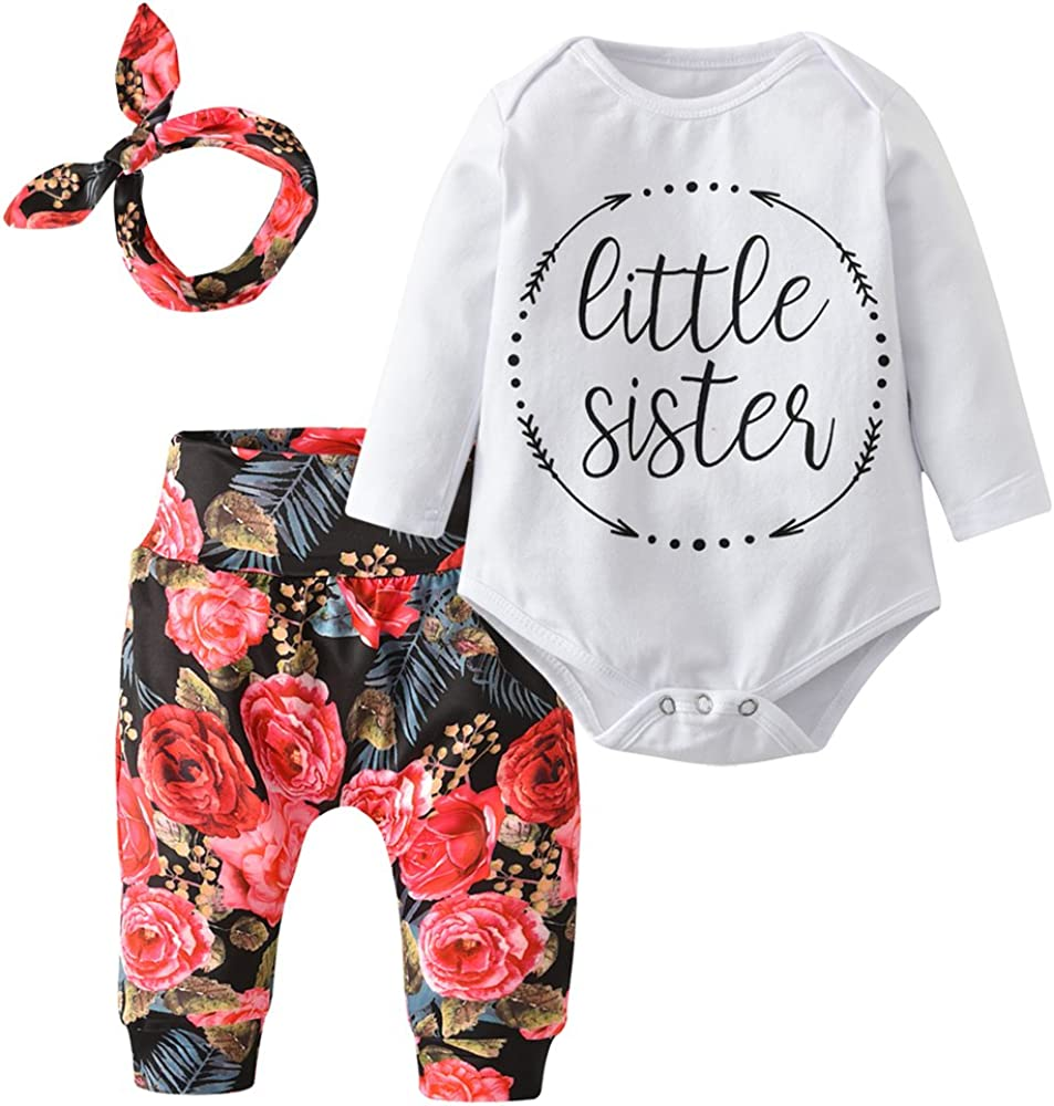 Baby Girls' 3 Piece Little Sister Long Sleeve Romper Tops Casual Floral Pants with Headband Clothing Set