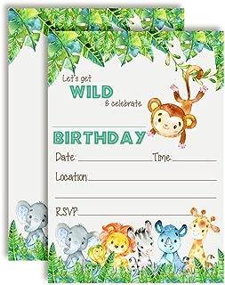 Get Wild Watercolor Jungle Animals Birthday Party Invitations, 20 5